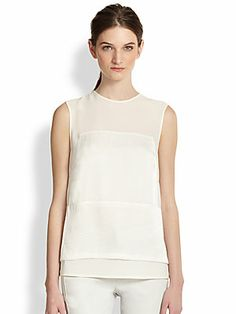 J Brand Ready-To-Wear Boylan Sheer-Paneled Layered Tank