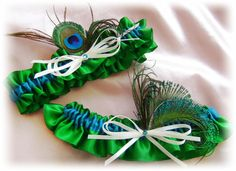Peacock Garters  Emerald Green Teal  Bridal Peacock by All4Brides, $35.00