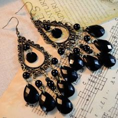 2015 retro fashion hollow tassel earrings long big hanging luxury black earrings with stone for women - V-Shop