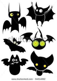 Set of cartoon Halloween black bats. Vector illustration.
