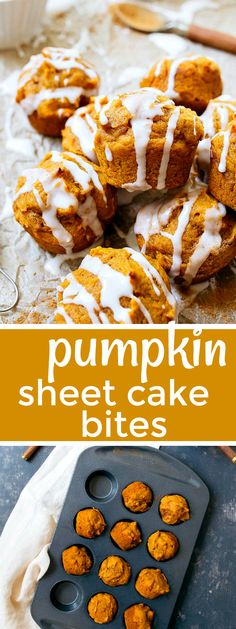 Mini pumpkin cakes with thick glaze. Pumpkin sheet cake bites, small batch. Mini cakes for two. Pumpkin desserts for two people. #pumpkinspice #fallbaking #pumpkin