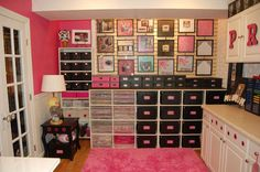 I love this room - gorgeous pink color! And, I really love the wall of scrapbook pages, too. :)  {Priceless Twins on Scrapbook.com}