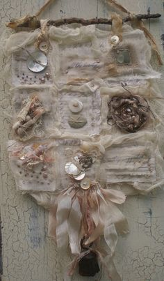 sweetpeapath:    Tidal pool  by Lisa Jurist  fabric collage; found objects, buttons, beads, ribbons