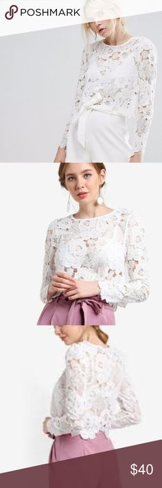 NWT Miss Selfridge Lace Long Sleeve Crop Top 4 / S Brand new with tags Miss Selfridge delicate lace white crop top. Size 4. Color: white. Retail price is $88. No trades, please. Product code: 5715688. Thanks so much for checking out my listing :) Feel free to contact me with questions, offers, etc.   P.S. I am new to Poshmark, but have been selling on eBay for years--check out my eBay profile if you want to see seller ratings and reviews…