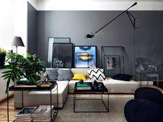 Escolher uma paleta de cor em tons sóbrios é essencial. O cinza é uma ótima opção para fugir do branco básico ou do preto total, além de produzir um efeito muito bacana em contraste com cores fortes.