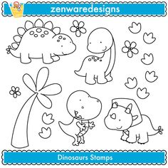 Cute Dinosaur Digital Stamps - Digital Stamps - Mygrafico.com