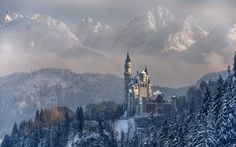 nature, Landscape, Mountain, Forest, Trees, Winter, Snow, Castle, Building, Germany HD Wallpaper Desktop Background