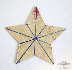 AUTHENTIQUE PAPER -- template for dimensional star -- score on lines and fold  in mountain/valley style to the center.