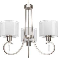 Progress Lighting Invite Collection 3-Light Brushed Nickel Chandelier Lighting Fixture