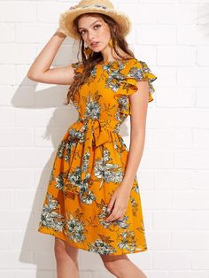 Boho A Line Floral Fit and Flare Flared Round Neck Cap Sleeve Butterfly Sleeve Natural Multicolor Midi Length Flutter Sleeve Self Belted Floral Dress with Belt Casual Dresses, Fashion Dresses, Summer Dresses, Floral Dresses, Girls Dresses, Ruffle Sleeve Dress, Short Sleeve Dresses, Frill Dress, Vestidos Vintage