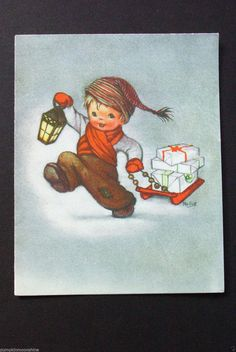 I 68 Vintage Crestwick Xmas Greeting Card Cute Boy with Sled Full of Gifts | eBay