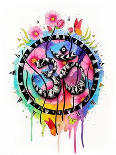 The om symbol original by pixiecoldart on etsy hinduismo, budismo, arte bud Mandala Art, Mandala Nature, Image Mandala, Mandala Meditation, Om Art, Om Symbol, Hamsa, Art Drawings, Artsy