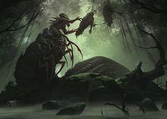 Swamp Queen – fantasy/horror creature concept by Orbital Hive Studio Monster Art, Monster Concept Art, Fantasy Monster, Monster Design, Concept Art World, Creature Concept Art, Creature Design, Fantasy Rpg, Fantasy Artwork