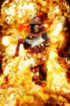 Title Heroic Firefighter Artist Christopher Lane Medium Painting - Mixed Media