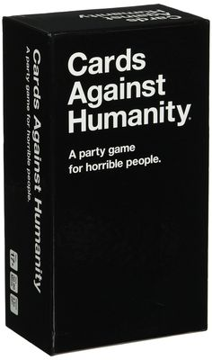 Cards Against Humanity is a party game for horrible people. Unlike most of the party games you've played before, Cards Against Humanity is as despicable and awkward as you and your friends.   The game is simple. Each round, one player asks a question from a Black Card, and everyone else answers with their funniest White Card. | Amazon.com