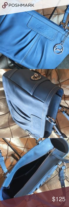 💯Authentic Coach Handbag💯 ✨Beautiful Periwinkle Blue Cadet Shoulder Coach Bag✨ purchased at the Destin, FL  Coach Store by my Mom when she was working. She is retired now. Your Gain. Price tag and paper still inside bag✨MSRB $328 #D0917-F13759 ✨In Brand New Excellent Condition✨Never Been Used Coach Bags Shoulder Bags