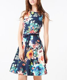 Take a look at this Stella Morgan: Navy Floral Sleeveless Dress by Stella Morgan on #zulily today!