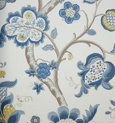 Roslyn Wallpaper A jacobean tree of life design wallpaper in blue and neutrals on a cream background