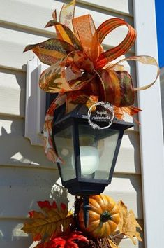 Fall Swag Bow Mailbox topper Porch Mild Ornament Outside Autumn Decor Orange plaid leaves Outside Fall Decorations, Light Decorations, Holiday Decorations, Outdoor Decorations, Fall Decor Lanterns, September Decorations, Thanksgiving Decorations Outdoor, Thanksgiving Flowers, Fall Swags