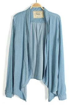 Blue Plain Ruffle Band Collar Long Sleeve Trench Coat