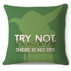 Decorative Star Wars Yoda Try Not Cotton Linen HEAVY WEIGHT FABRIC Sofa Cushion Cover #Affiliate