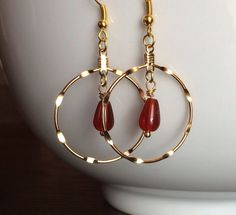 Natural Carnelian and Gold Hoop Earrings by MarmaladeAndMayberry