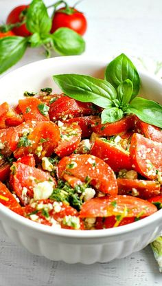 This Tomato, Basil and Feta Summer Salad is colorful, healthy, and packed with flavor! Easy to customize.the basil dressing goes well with everything! Summer Pasta Salad, Summer Salads, Side Dishes For Bbq, Side Dish Recipes, Salad Recipes, Healthy Recipes, Tomato Salad Recipe, Tomato Basil Salad, Detox Recipes