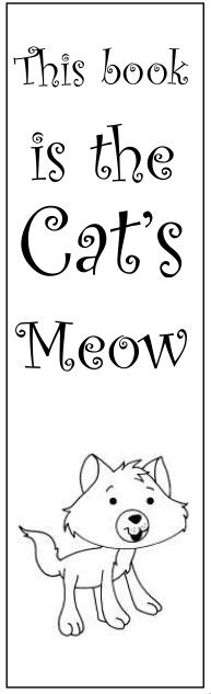Worksheets For Cats Meow : You can download free printable bookmarks from the library