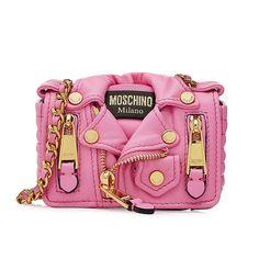 Moschino Biker Jacket Womens Mini Leather Shoulder Bag Pink