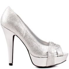 You'll create quite the buzz at your city's favorite hotspot in the Carlina pump.  A dazzling silver glitter blankets the upper to create a pop of sparkle to your classic party dress.  A 5 inch heel, 1 1/2 inch platform and sleek crossing straps at the vamp give a fine finish to this G by Guess style.