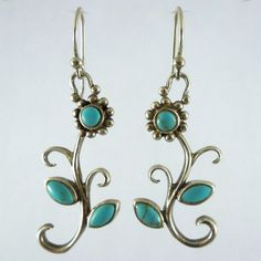 Sterling Silver & Turquoise Dangle Flower Earrings. $75