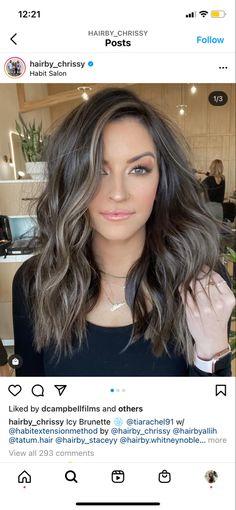 Brown Hair Balayage, Hair Color Balayage, Hair Highlights, Ash Brown Bayalage, Bayalage Dark Hair, Smoky Eyes, Hair Color And Cut, Hair Colour, Brunette Hair