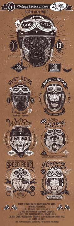 6 Vintage Motorcycles Badges Template PSD, Vector EPS, AI. Download here: http://graphicriver.net/item/6-vintage-motorcycles-badges-vol2/15317344?ref=ksioks