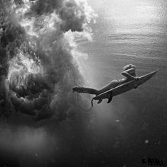 Deep Ocean Black and White Surfing Photography