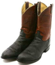 Justin Mens Cowboy Boots Size 10 D Brown Black Leather Roper Western Boot USA