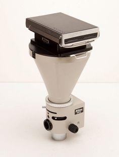 I am such a sucker for Rare Polaroids. Especially ones made for scientific purposes. Polaroid Back on Nikon Microscope Camera Mount by obscurearchive Polaroid Cameras, Polaroids, Aperture, Shadow Box, Shutter, Fuji, Steampunk, Commercial