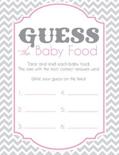 Baby Shower Game Cards for Guess the Baby Food! Chevron Pink and Grey
