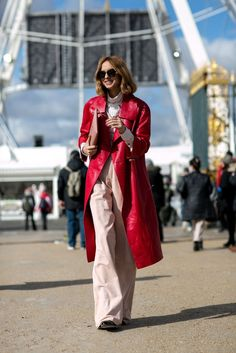 Red leather coat | For more style inspiration visit 40plusstyle.com