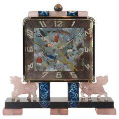Lacloche Freres Important Art Deco Chinoiserie Desk Clock 1