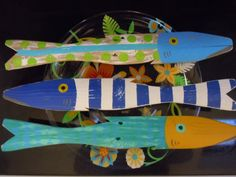 Set of 3 Caribbean Colored Fish Art Hand Painted by CottageToCabin, $70.00