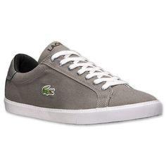 Men's Lacoste Graduate Vulc Canvas Casual Shoes | Finish Line | Grey/White