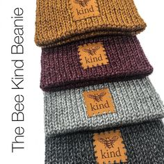 Be positive, be kind, be comfortable.  The Bee Kind Beanie  Available now ❤️  Toddler, Child & Adult sizes.  www.roughbarkknits.com   Link in bio ⬆️ Kindness Matters, Simple Style, Knitted Hats, Etsy Seller, Patches, Bee, Messages, Knitting, Children