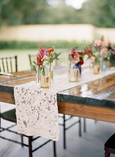 lace table runner - photo by Emily Katharine Photography http://ruffledblog.com/relaxed-brunch-wedding-in-florida