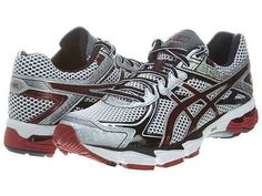 Asics GT-1000 V2 Mens T3RON-0129 Silver Maroon Running Shoes Sneakers Size 12