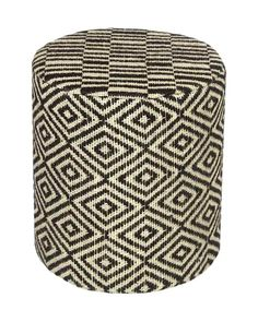 Jute Round Pouffe Black and Off-White Herringbone Pattern, 40 x 40 x 42 cm