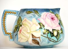CAC BELLEEK HAND PAINTED ROSES CIDER PITCHER