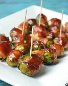 BBQ-Bacon-Wrapped-Brussels-Sprouts #best recipe to try