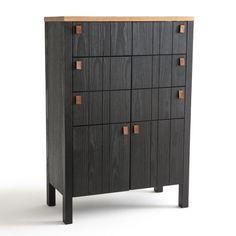 Commode 5 tiroirs en bois brut sur