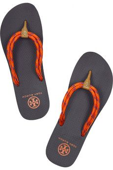f3a53b4ace5d Tory Burch - Matteo rubber and woven flip-flops