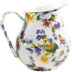 MacKenzie-Childs Flower Market Enamel Pitcher - White (€100) ❤ liked on Polyvore featuring home, kitchen & dining, serveware, multi, white pitcher, enamel pitcher, white serveware, serving pitchers and white enamel pitcher